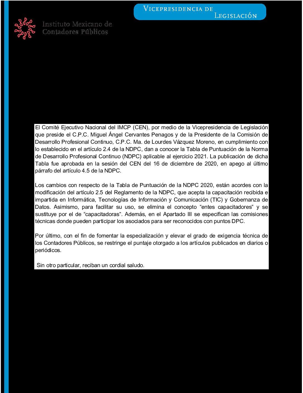 Folio 19/2020-2021.- Tabla de Puntuación 2021 que emite la Comisión de Desarrollo Profesional Continuo del Instituto Mexicano de Contadores Públicos, A.C.