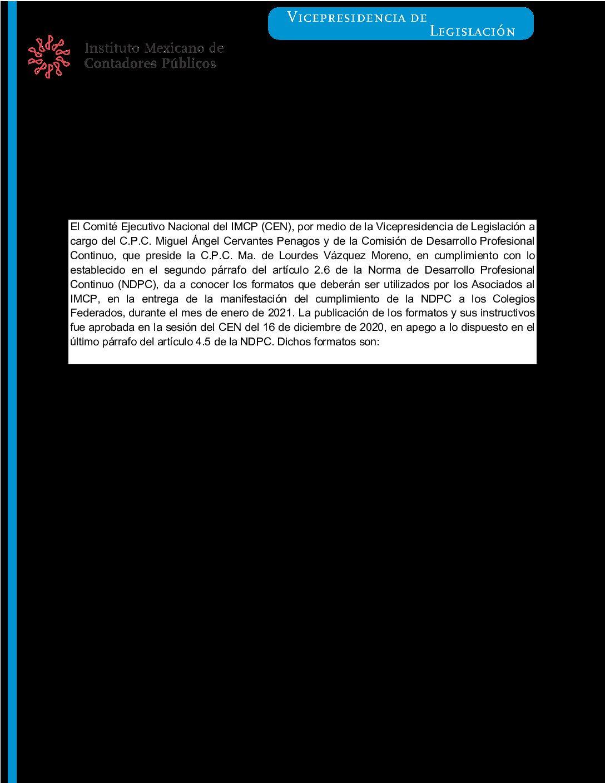 Folio 20/2020-2021.- Formatos e instructivos para manifestar el cumplimiento anual 2020