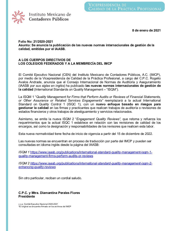 Folio 21/2020-2021.- Se anuncia la publicación de las nuevas normas internacionales de gestión de la calidad, emitidas por el IAASB.